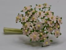 LIGHT PALE PINK SINGLE-LAYERED Miniature Daisy (XS) Mulberry Paper Flowers